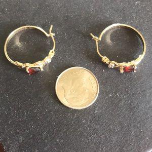 Garnet diamonds earrings 14k gold